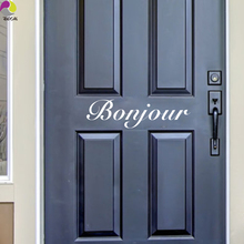 Bonjour French Wall Door Sticker France paris Hello greeting guest Wall Door Outdoor Decal Living Room Cut Vinyl Home Decor DIY