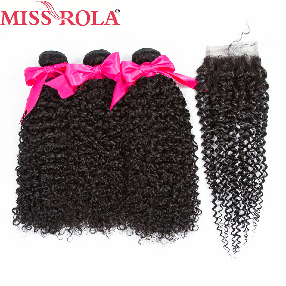 Miss Rola Hair Pre-colored Brazilian Human Hair Kinky Curly 3 Bundles with Closure Non Remy Hair