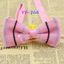 Cheap 2014 New Mens Polyester Adjustable Pink Striped Formal Knitted Neck Bowtie Men's Bow Tie,male Fashion Knitting Butterfly