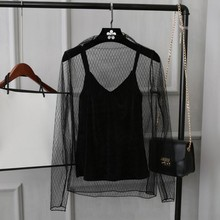 XL-5XL Autumn Ling Grid Perspective Lace Backing Shirt Fashion Full Sleeves T Shirt Women(China)