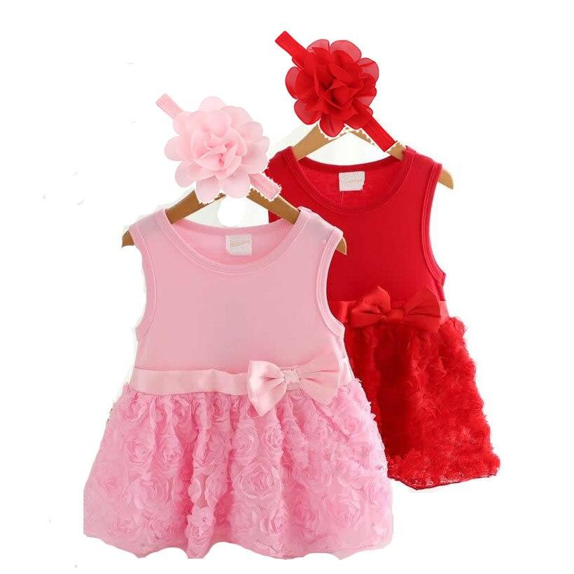 2017 New Fashion Summer 2pcs Girl Kids Baby Bebe Newborn Flower Headband+Princess Rose Dress Hot Girls Dresses Clothing Outfit<br><br>Aliexpress
