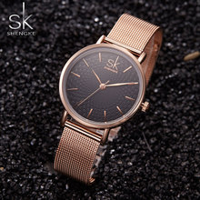 SK Quartz Watch Women Watches Ladies Brand Luxury Famous Stainless Steel Wrist Watch Female Clock Montre Femme Relogio Feminino(China)