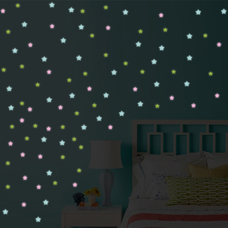 HTB1vh IiDnI8KJjy0Ffq6AdoVXab - % 100 pcs/lot 3D stars glow in the dark Luminous on Wall Stickers for Kids Room living room Wall Decal Home Decoration poster