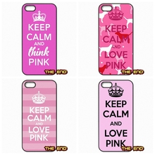 Keep Calm and Love Pink Hard Black Phone Skin Case Cover For iPhone 4 4S 5 5C SE 6 6S 7 Plus Galaxy J5 A5 A3 S5 S7 S6 Edge