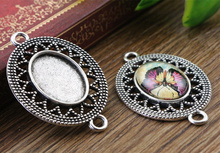 6pcs 13x18mm Inner Size Antique Silver Simple Style Cameo Cabochon Base Setting Charms Pendant necklace findings (D4-30)(China)