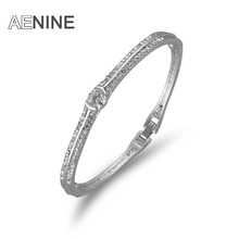 AENINE Luxury White Gold Color AAA Round 0.5 carat Cubic Zirconia Bangles Pave Setting Rhinestone Bracelet Bangles Women Jewelry