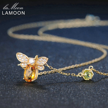 LAMOON Bee 5x7mm 1ct 100% Natural Citrine 925 Sterling Silver Jewelry 14K Yellow Gold Plated Chain Pendant Necklace S925 LMNI015