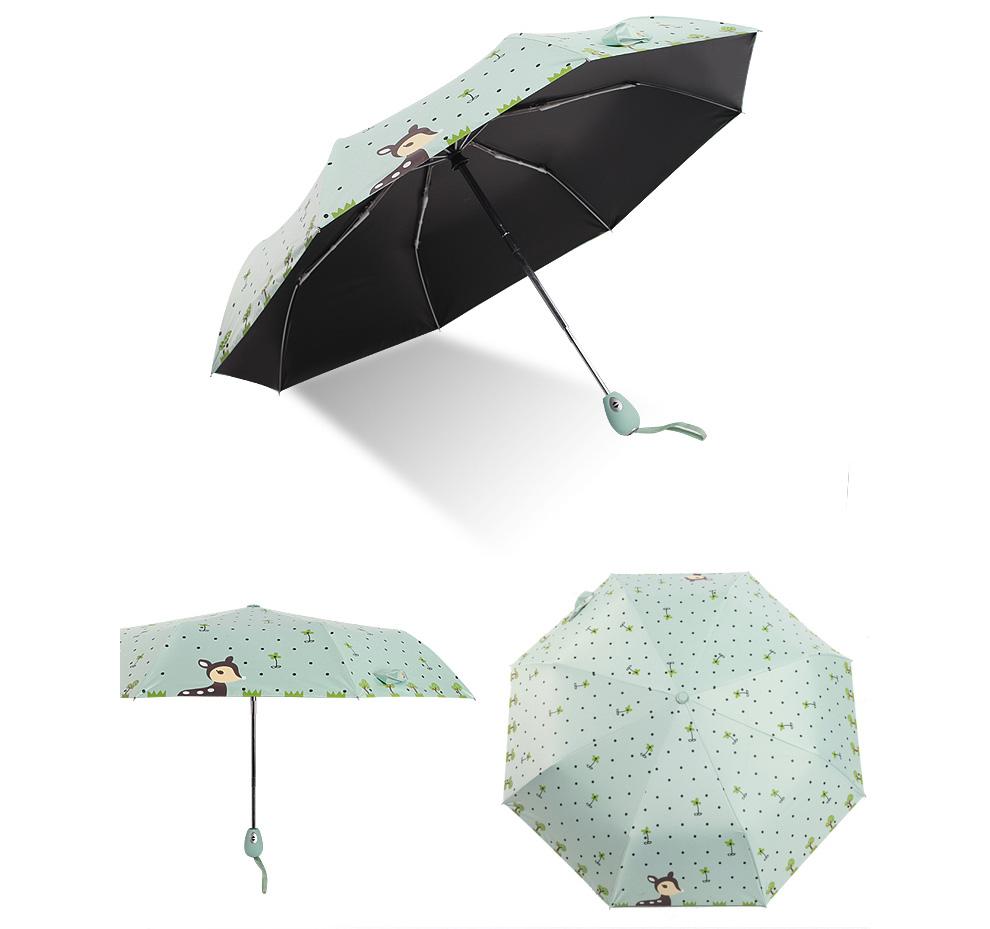 Fully Automatic Children Umbrella Small Fresh Boys Girls Folding Kids  Umbrella Black Coating Sunscreen Sunny And Rainy Umbrella   Us960