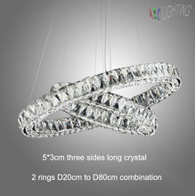 Modern Led long Crystal Pendant Lamps D20 D30 D40 D50 D60 D70 D80cm 2 round rings combination Dinning Living Room lustres Lights