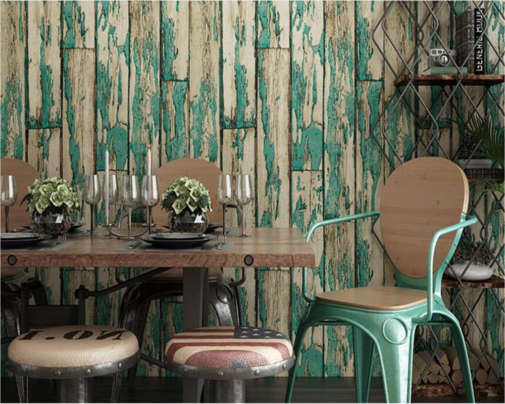 beibehang Simple wallpaper nostalgic antique wooden bar personality fashion women clothing shop wood wall papel de parede behang<br>