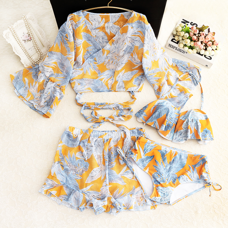 2018 Sale Three Piece Split Skirt Sleeve Korean Small Fragrant Cover Belly Thin Chest Significantly Gather Retro Hot Springs <br>