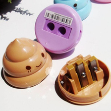 Novel Design Funny Emoji Poop Pencil Sharpener Double Hole Stationery For Student Teens
