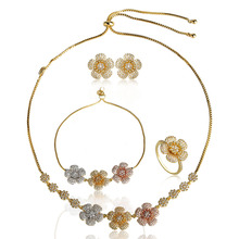 Blucome Three Tones Flower Jewelry Sets Full Rhinestones Brass Bracelet Necklace Earrings Ring Set Cubic Zircons Copper Jewelry(China)
