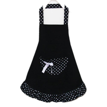 Lovely Cotton Polka Dot Pattern Working Chefs Kitchen Cooking Cook Women's Bib Apron with Bowknots Pockets Design Great