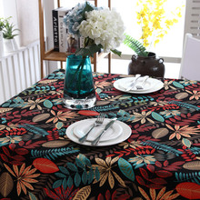 American style cotton thick canvas table cloth black leaves maple leaf table cloth(China)