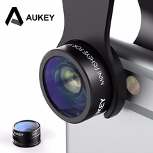 AUKEY 2 in 1 Mini Clip-on Phone Camera Lens Kit 160 Degree Fisheye Lens + 10 X Macro Lens for iPhone 7 HTC and More Smartphone(China)