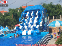 Inflatable water wave slide For Mobile Stainless Steel Metal Frame Pool(China)