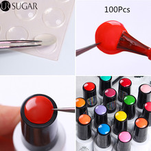 UR SUGAR 100Pcs Label Sticker for Gel Polish Nail Art Adhesive Color Button Sticker How to Identify Your Nail Gel Polish Tool