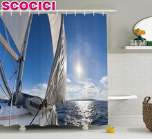 Sailboat Decor Shower Curtain Set Sailing Boat In The Sea Maritime Speedy Sunshine Reflections Luxury Lifestyle Bathroom Accesso