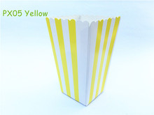 12pcs/lot Mini Yellow Striped Favors Pop corn Box Popcorn Favor Bags For Snack Candy Birthday Baby Shower Wedding Party Supplies