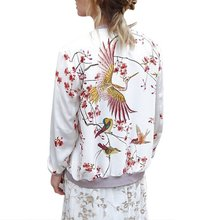 2017 Quilting Autumn Women Jackets Floral Long Sleeve Zipper Women Bomber Jacket Chaquetas Mujer