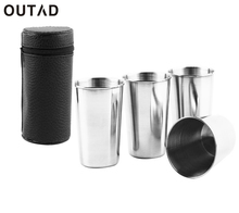 4Pcs Stainless Steel Camping Cup Mug Outdoor Travel Hiking Folding Mug Portable Tea Coffee Beer Cup With PU Leather Bag