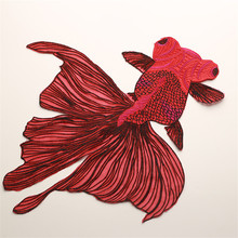 Big Fish Embroidered Patches Sewing for Clothes Applique Diy Accessory Suppliers Sticker Lace Neckline collar
