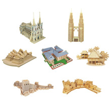 Chanycore Baby Learning Educational Wooden Toys 3D Puzzle Building House Church Great Wall Tower Opera Palace Kids Gifts 4313(China)
