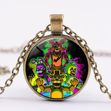 New Necklace 5 Five Nights at Freddy's Necklace Toys FREDDY FAZBEAR Scrabble Tile Pendant glass cabochon children christmas gif(China)