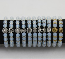 New Fashion Lion Head, Leopard Head, Elephant, Turtle, Owl Bracelet, White Crystal Bead, Alloy Bracelet for Men and Women bb0686(China)