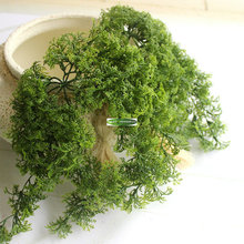 26cm 10 Branch Plastic Christmas Home Church Furniture Beach Decor Hanging Basket Artificial Moss Grass Plant Tree Green F5144(China)