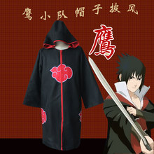 Naruto Cosplay Costumes Akatsuki Cloaks Costumes with Hat Hawk Team Sasuke Uchiha Robe Halloween Party Clothes