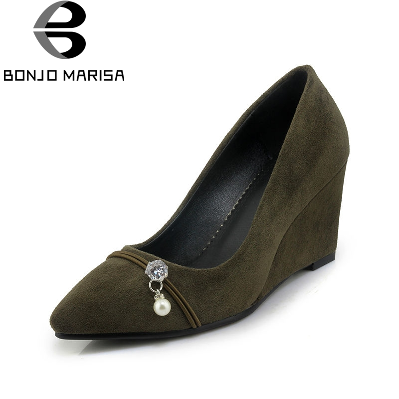 BONJNOMARISA 2018 Spring Autumn Sexy Women Shallow Pumps High Wedges Bead slip-on Shoes Woman Big Size 32-42 Casual Shoes<br>