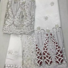 Lace-Fabric Stones George White African 5-Yards/Lot Latest with Lots of Embroidery