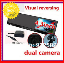 "4.3""rearview mirror gps dvr ultra thin w touch button HD dual  video recorder gps 3axis G-sensor++gps locator+H.264  Recorder"