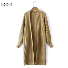 MISSFEBPLUM Women Cardigan 2017 Autumn Loose Lantern Sleeve Solid Striped Knitted Oversized Long Sweater Women's Winter Clothing