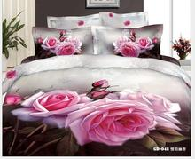 NEW Home Textile 3D HD designer Pink Rose Fitted Sheet Bedding Sets Duvet Cover Sets Luxury Single Twin queen king Size