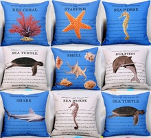 Marine Biology Cushion Cover Coral Starfish Sea Horse Turtle Dolphin Shark Shell Conch Cushion Covers Beige Linen Pillow Case