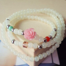 Fashion Women Bracelets Vacation Jewelry White Beads Pink Flower Multilayer Bracelet Lucky Bracelet Sweet Girls Gift 028