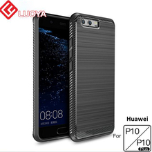 Cover Silicone TPU Cases for Huawei P10 mobile phone Drawing Carbon Fiber Texture anti-drop soft shell for huawei P10 plus(China)
