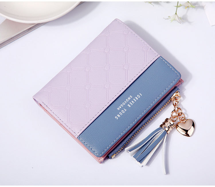 2018 Fashion Ladies Wallet Female Short Zipper Coin Purse Small Wallets Young Womens Tassel Hasp Purses Button Card Holder Pouch 72
