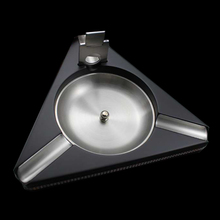 Luxury Triangle Movable Holder and Slot Black Solid Wood Cigar Ashtray W/ Free Stainless Steel Cutter Gift Set(China)