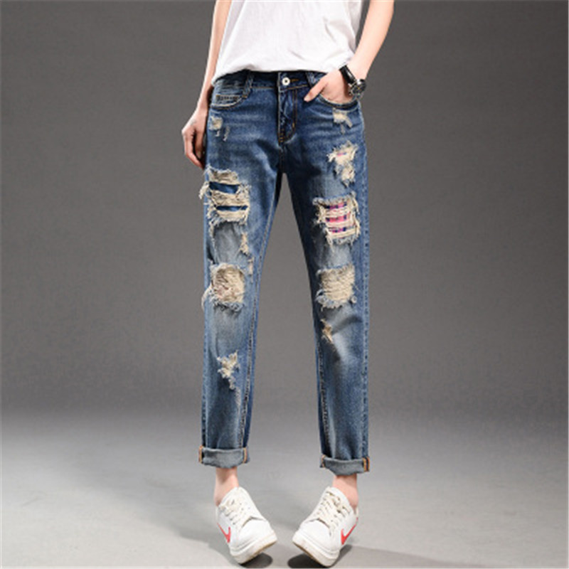 Summer/Spring Casual Ankle-Length Hole Embroidery Large Size Ripped Jeans For Women Pockets Denim Cross-Pants Mom Jeans TT2243Одежда и ак�е��уары<br><br><br>Aliexpress
