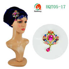 Newest Solid African Net headwrap and soft African Headtie with brooch,Fashion sequins African turban, Women's Accessories HQT05