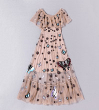 Best Buy New Fashion Women Apr13 Spring Dress Europe Style Design Vintage Embroidery Floor-length party style dress 1710