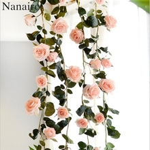 180 cm High Quality Fake Silk Roses Ivy Vine Artificial Flowers With Green Leaves For Home Wedding Decoration Hanging Garland(China)