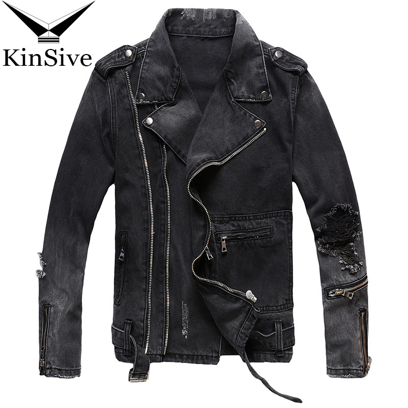 Mens Slim Fit Vintage Ripped Denim Jackets Black Multi Zippers Streetwear Distressed Motorcycle Biker Jeans Jacket Fashions Coat