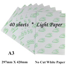 (A3*40pcs) Self Weeding Paper Laser Heat Transfer Printing Paper For cloth Heat Press White Color Thermal Transfers Papel No Cut(China)