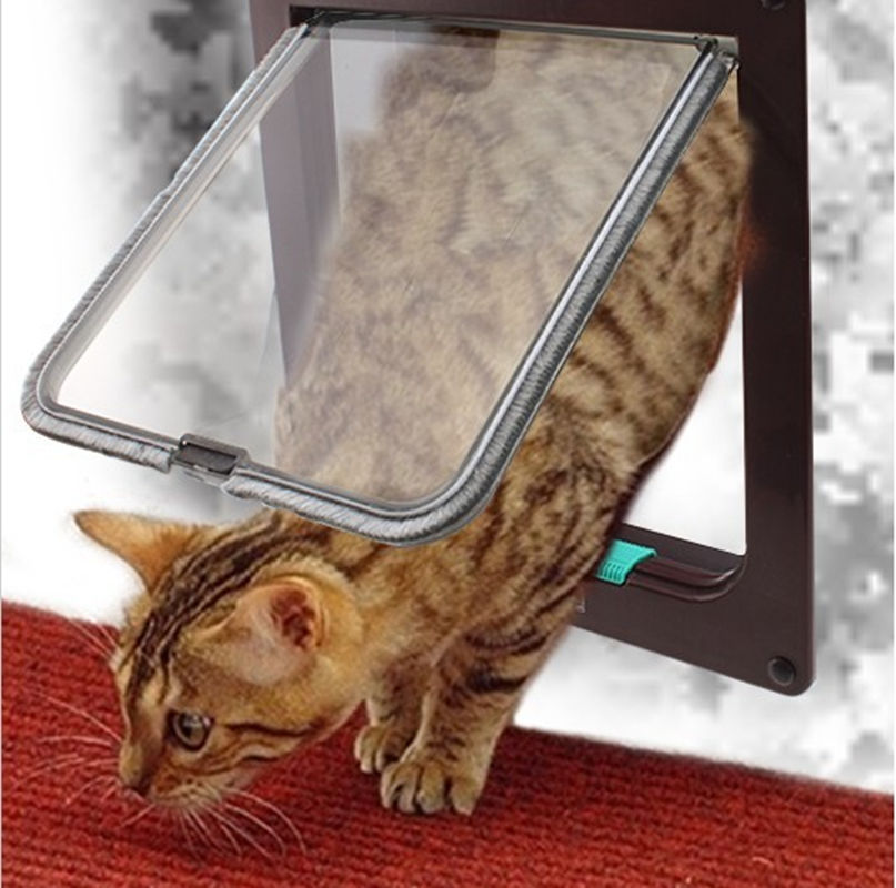 Brown Large 4 Way Pet Cat Kitten Dog Supply Lock Lockable Safe Flap Door<br>