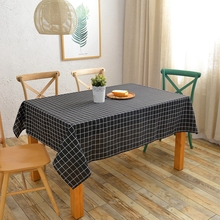 Black Linen Table Cloth White Stripes Printed Waterproof Cheap Polyester Table Cover for Dining Room Decoration(China)